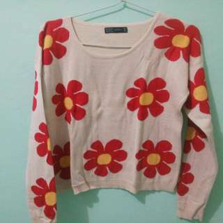 REPRICE ZARA Crop Flower Sweater