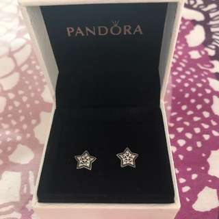 AUTHENTIC Pandora Pavé Star Stud Sterling Silver Earrings