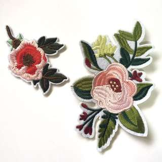 💐🍃Floral Bloom White Iron On Patches