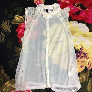 H&M Lacy White Sheer Blouse