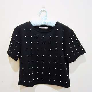 Black Crop Top with White Studded