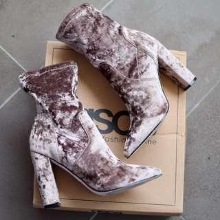 ASOS - As New Velvet Sock Boots - UK 4 (6-6.5)