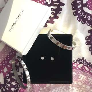 The PeachBox Sterling Silver Studs And Bracelets