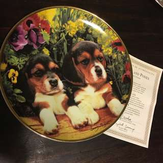 Franklin Mint Limited Edition Numbered Collectible Plate Puppies and Posies