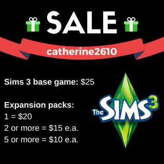 Sims 3 + Expansion Packs - Buy one or buy all