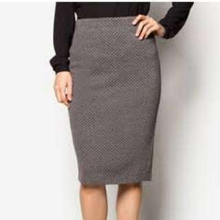 Zalora Textured Stretch Pencil Skirt