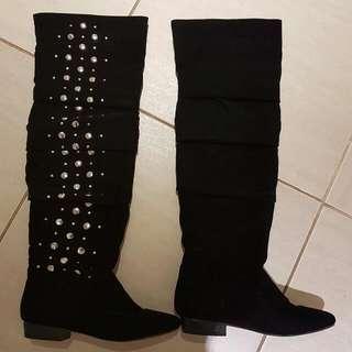 Rianna Knee High Black Boots