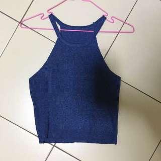 BN Blue Halter Knit Crop Top