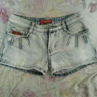 Faded White Maong Shorts