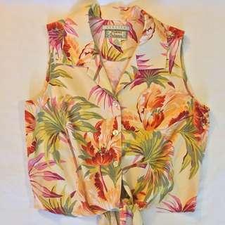 VINTAGE Tommy Bahama Silk Hawaiian Floral Top