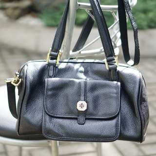 Tory Burch Black Duffel Hand Bag / Shoulder Bag