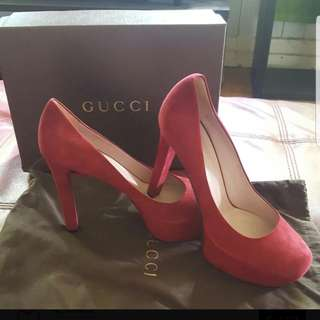 Brand New Never Worn Authentic Gucci Shoes. Red Suede Size 9 Comes With Dustbag And Box. Please Msg For More Info