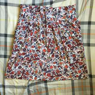 ZARA WOMAN 花卉圖案A字短裙 半截裙 A-Line Skirt