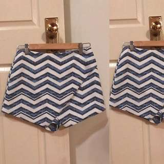 Navy blue and white striped shorts