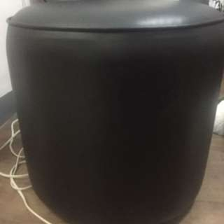Round Leatherette Ottoman