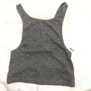 Rib Knit Crop Top In Gray
