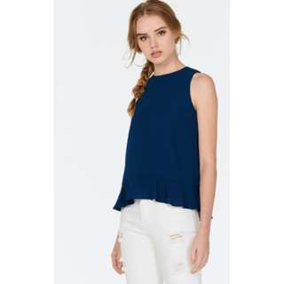 TCL The Closet Lover LILIAS RUFFLES HEM TOP IN NAVY (Size S)