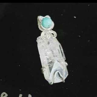 珠寶世界鑽石替代品~天然賽黃晶手工編織墜(藍色為天然天河石)#手滑買太多