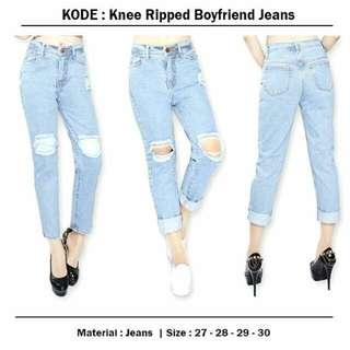 Knee Ripped Boyfriend Jeans