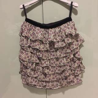 Authentic Anne Sui Multiple Layers Skirt with Purple Flower Pattern