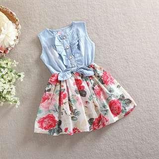 Baby Girl Dress Sleeveless Denim Floral Clothing Set Skirt + Top