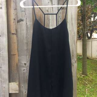 Topshop Petite Black Dress With Spaghetti Back Straps