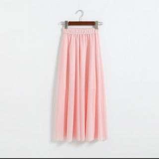 氣質 粉色 雪紡 長裙