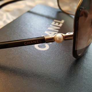 Authentic Chanel Shield Sunglasses With Pearl On Side