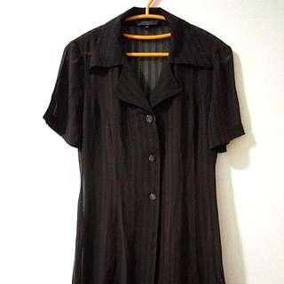 Brown Blouse Shirt Kemeja Coklat Tua Chiffon