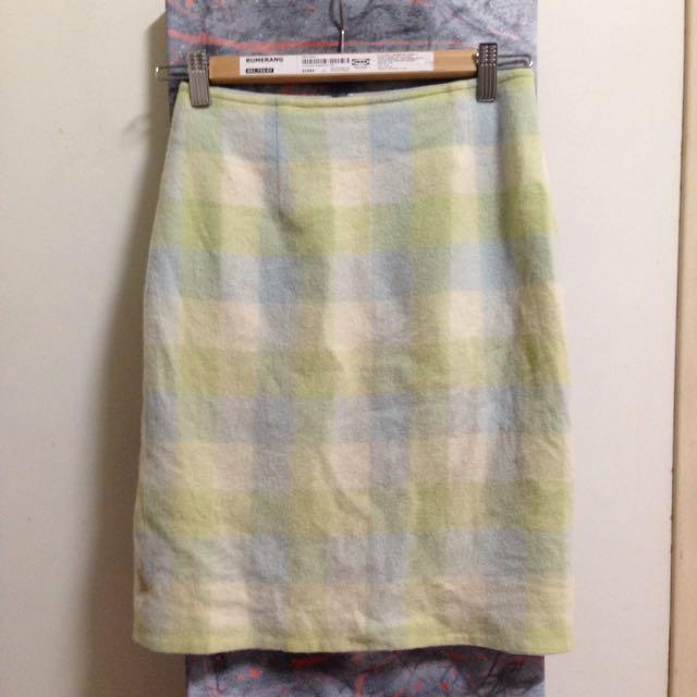 可愛藍綠格紋毛絨窄裙長裙