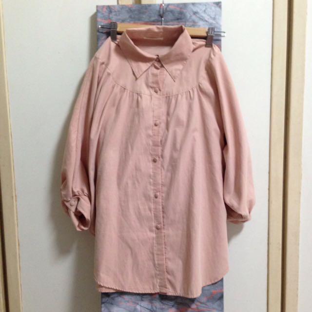 蜜桃杏飛鼠袖長版上衣外套罩衫 #一百元上衣