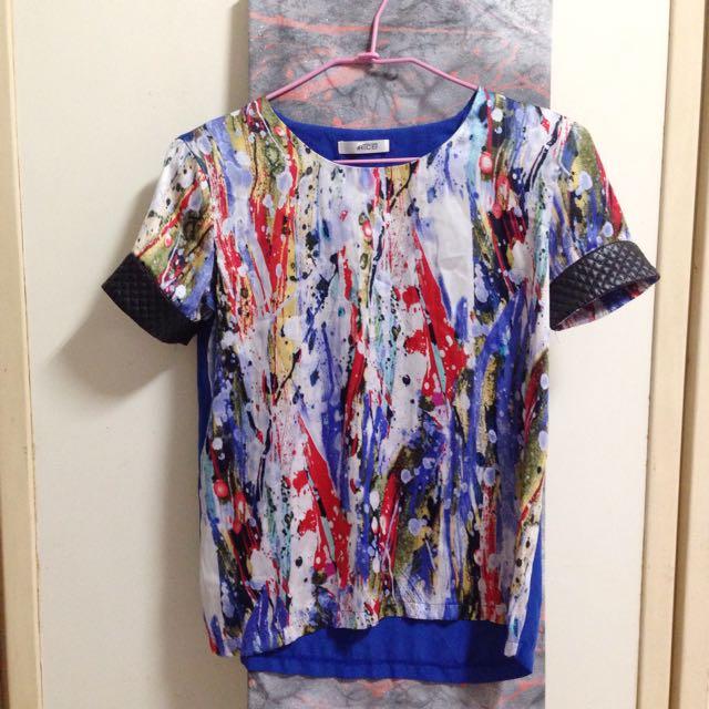 超美潑墨印花絲質短袖上衣 #一百元上衣