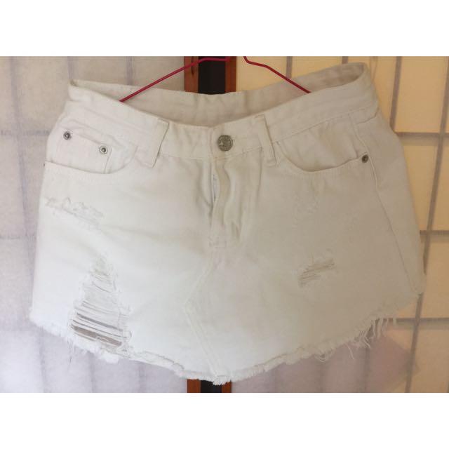 韓版 白色牛仔褲裙 超顯瘦