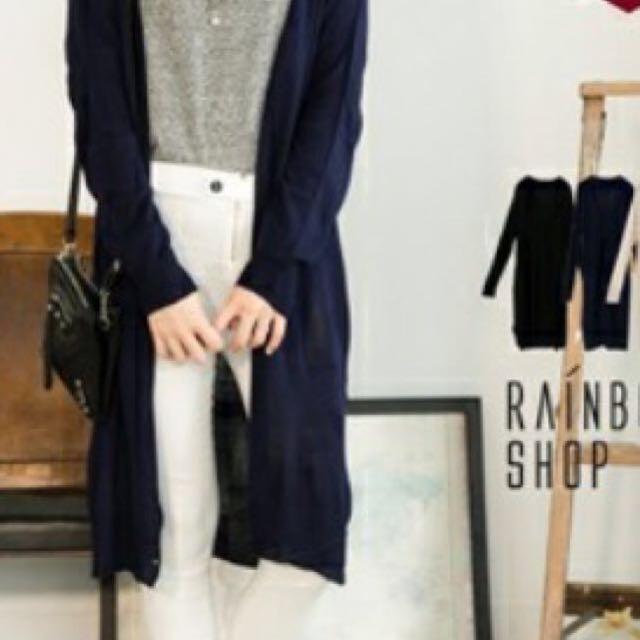 氣質文青 深藍色 長版外套