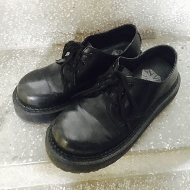 歐美 霧面圓頭 黑色 厚底馬丁鞋 23.5/37/uk4