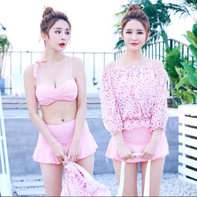 兩截式比基尼泳裝 泳衣 遮肚泳裝 三件式泳裝 褲裙泳裝
