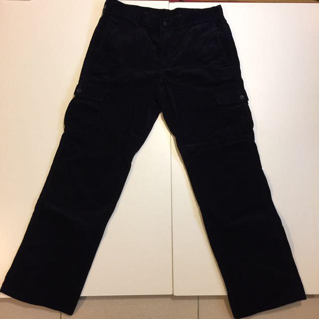 無印良品 Muji 黑色 絨布 工作褲 直筒 口袋 細條紋 休閒長褲 寬褲