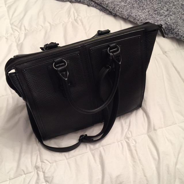 Aldo Black Leather Messenger Bag
