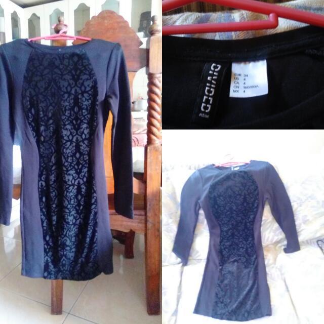 black h&m bodycon long sleeves dress (s)