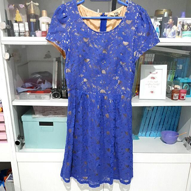 B.L.F Dress Lace Biru