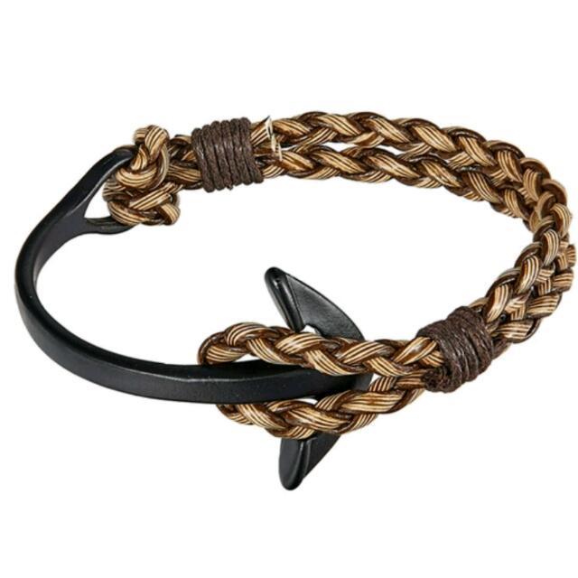 Jewelry Blue Braid Leather Bracelet Men