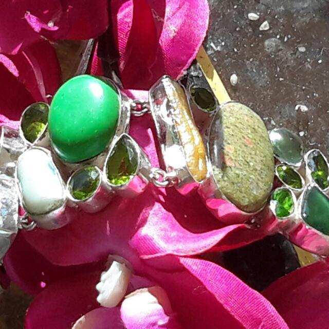 Designer Artiste Sterling Mixed Gem & Biwa Pearl Bracelet Sgn 925