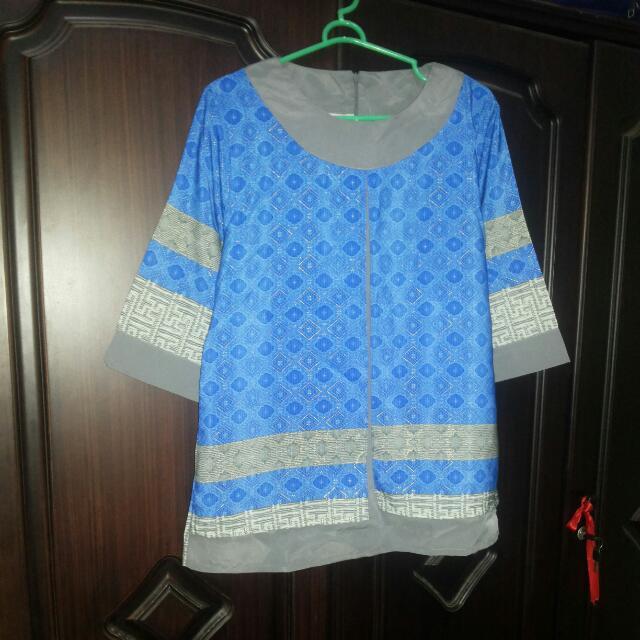 Dress Batik Biru Kombi Abu