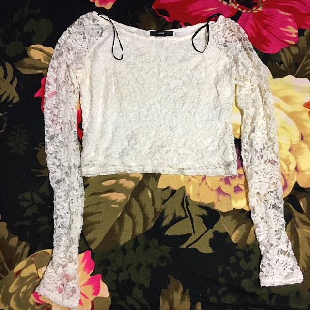 F21 Lacy White Crop Top