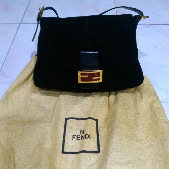 FENDI Black Suede Logo Shoulder Ladies Bag