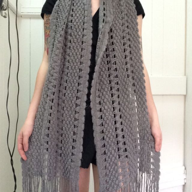 Grey Knit Scarf