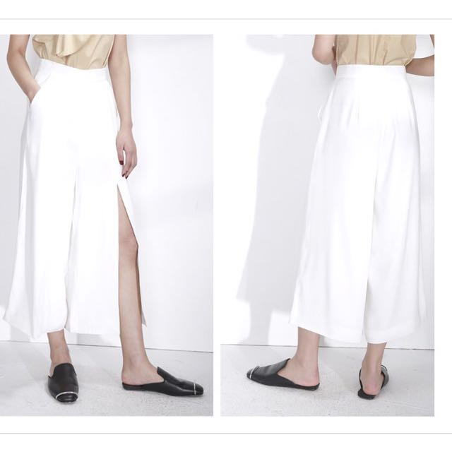 High-Rise Wide Leg Pants Front Split