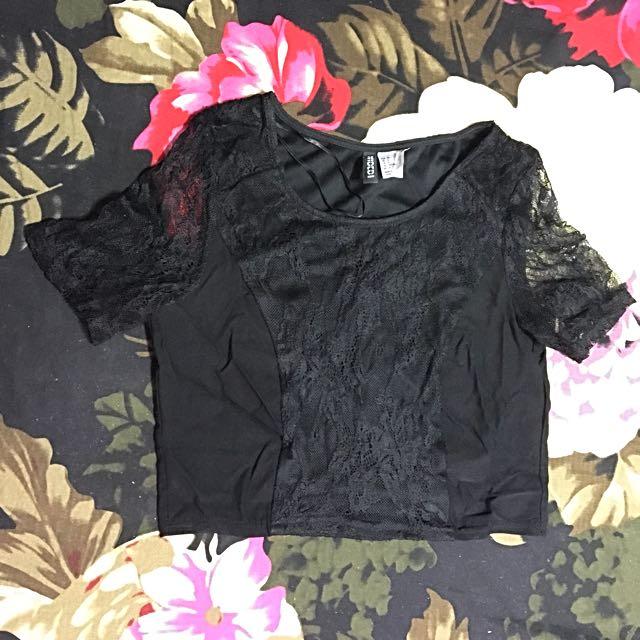 H&M Lacy Black Crop Top