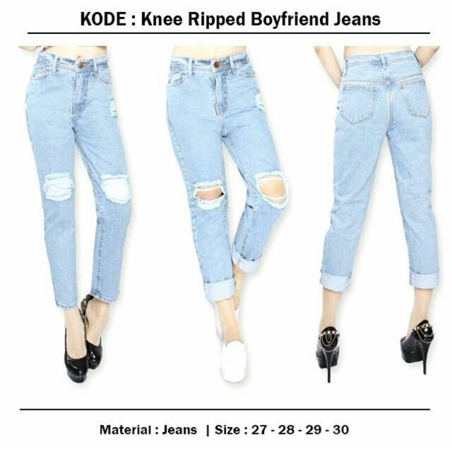 Knee Ripped Boyfriend Jeans
