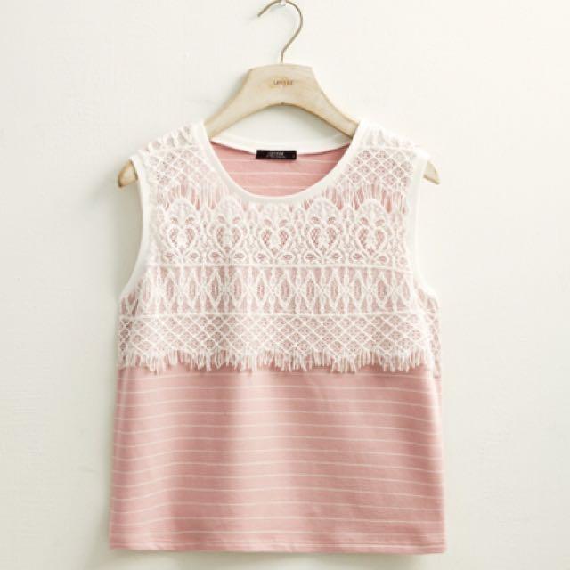 LOVFEE✨氣質蕾絲條紋上衣 粉色